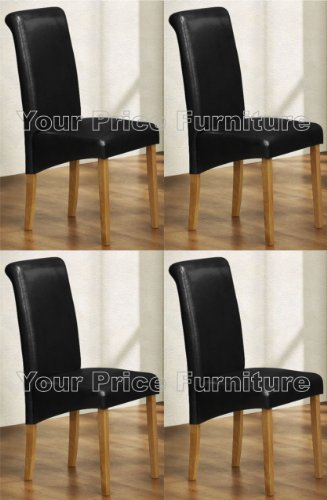 Set of 4 Faux Leather Scroll Top Roma Dining Chairs Black With Padded Seat  &  Oak Finish Legs