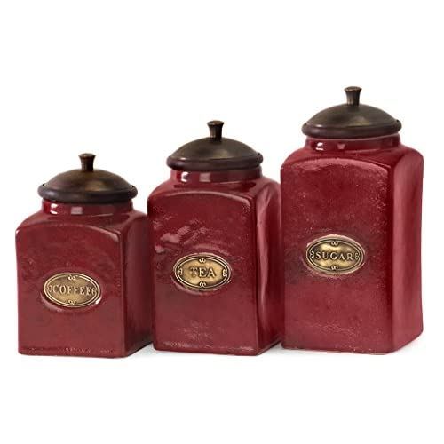 IMAX 5268-3 Red Ceramic Canisters, Set of 3
