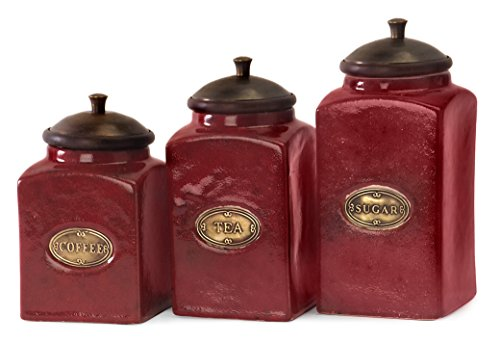 IMAX 5268-3 Red Ceramic Canisters, Set of 3 0
