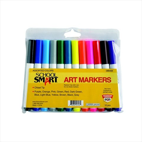 School Smart Chisel Tip Watercolor Markers - Set of 12 - Assorted Colors