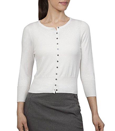 Wool Overs Women's Silk & Cotton Crop Crew Cardigan Natural White Medium