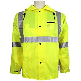 Global Glove GLO-1400 FrogWear Class 3 Polyurethane on Nylon Rainwear Jacket with 3M... by Global Glove