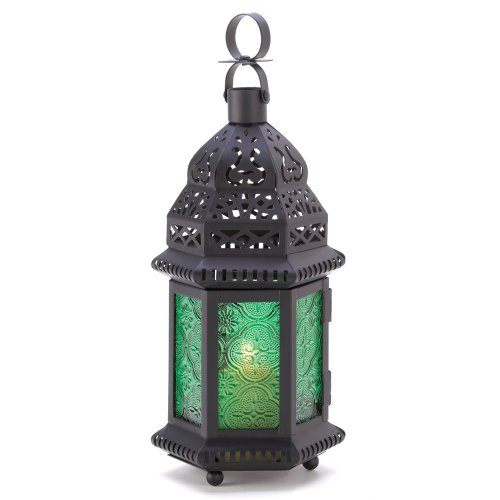 Gifts & Decor Green Glass Moroccan Candle Holder Hanging Lantern front-601345