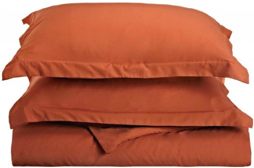 Clara Clark 1500 Series Duvet Cover, King, Orange Rust