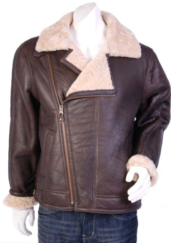 Mens Flying Jacket Real Sheep Skin B3 Type Blen Brown Gents Bomber Aviator Jacket (3XL)