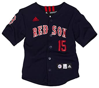 MLB Infant/Toddler Boys' Boston Red Sox Dustin Pedroia Screen Print Baseball Jersey, Dark Navy, Small (2T)