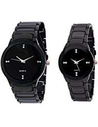 Akag Enterprise Round Analogue Couple Watch Couple Watch (A-IK-BLACK)