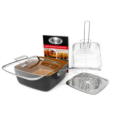 Gotham Steel Titanium Ceramic 9.5 Deep square frying & Cooking Pan With Lid, Frying Basket,Steamer Tray (Copper Grill Pan compare prices)