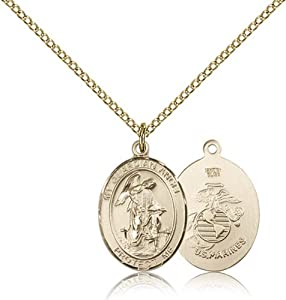 Gold Filled Guardian Angel Marines Pendant 3/4 x 1/2-inch Military Medal