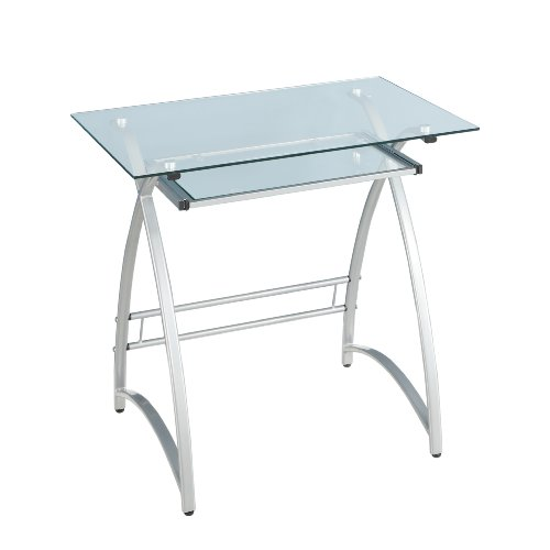 Buy Low Price Comfortable Walker Edison Glass Computer Desk, Clear/Silver (B002WRGE1S)