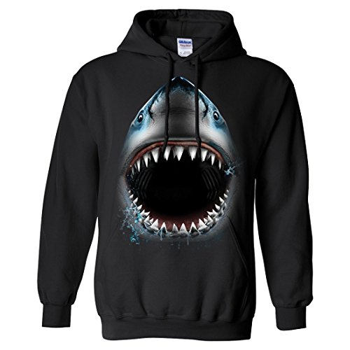 Great White Shark Bite Sweatshirt Hoodie By Dsc - Black Large front-290118