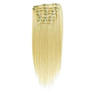 "Deluxe 24"" 7pcs Bleach Blonde_613 Remy Clips In Human Hair Extensions 135g Attached Full Head"
