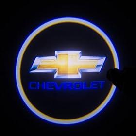LEMONBEST 2 pcs Universal Car Projection LED Projector Door Shadow Light Welcome Light Laser Emblem Logo Lamps Kit (037 (Chevrolet))