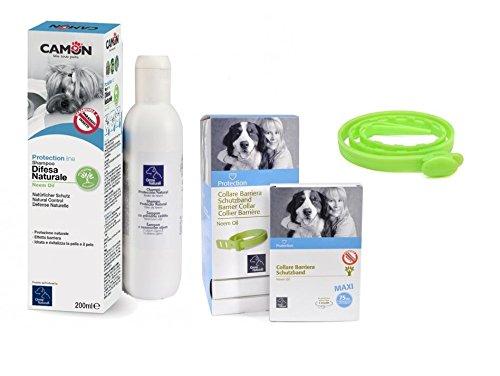 Collare barriera all'olio di neem 75 cm per cani & shampoo olio di neem per cani Camon 200 ml