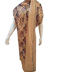 Women's UnStitched Beige Suit with cutwork and embroidery