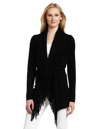 Minnie Rose Women's Fringe Duster Sweater, Black, Small