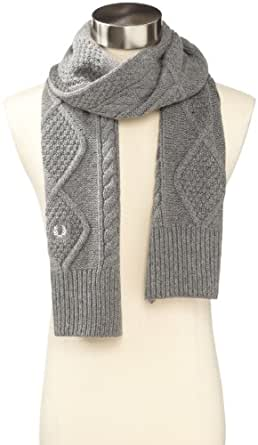 Fred Perry Men's Cable Scarf, Vintage Marl Grey, One Size
