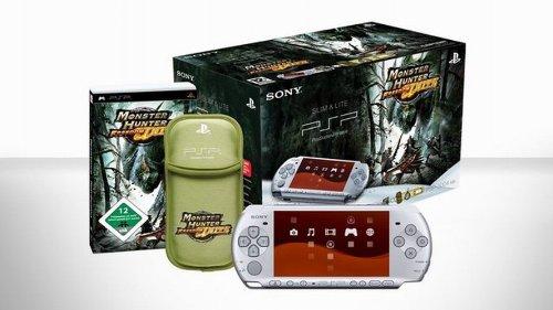 PlayStation Portable - PSP Konsole Slim & Lite 3004, silber inkl. Monster Hunter Freedom Unite + Tasche