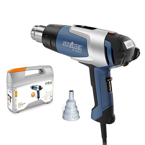 Steinel-Heiluft-Geblse-HL-2020-E-im-Kofferset-LCD-Display-mit-Resthitzeanzeige-ergonomische-Bedienung-mittels-Joystick-2200-Watt-80-C-bis-630-C-Inkl-9mm-Reduzierdse-Idealer-Heiluftfn-zum-Verformen-Lte
