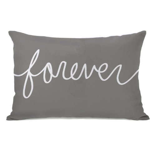 """Bentin Home Decor """"Forever"""" Mix + Match Throw Pillow, 14 by 20-Inch, Gray/White"""
