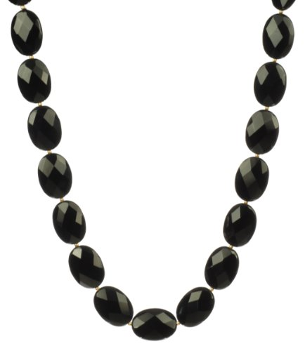 Large Black Onyx Flat Faceted Oval Bead and Gold Filled Bead Necklace, 18