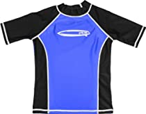 grUVywear UV Protective (UPF 50+) Boys Short Sleeve Shirt with Surfboard-Royal Black-L 9-10
