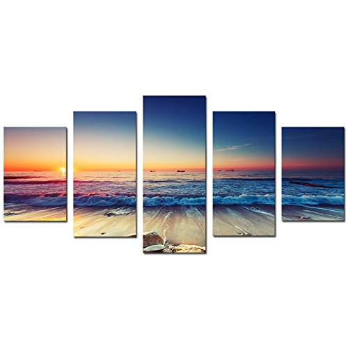 Cao Gen Decor Art-AS40124,canvas Prints, 5 panels Framed Wall Art Color Waves Paintings Printed Pictures Stretched for Home Decoration