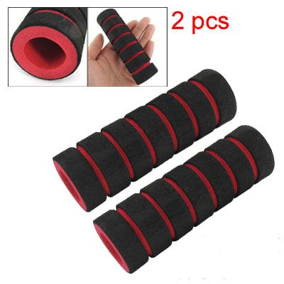 2 Pcs Bike Bicycle Anti Slip Sponge Handlebar Grip Black Red