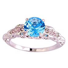 buy Psiroy 925 Sterling Silver Simple Cute Round Brilliant Cut Blue Topaz Twisted Band Filled Ring