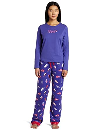 Cinema Etoile Women's Mix N' Match Three Piece Pajama Set, Cozy Slippers, Medium