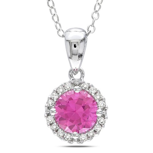 Sterling Silver 1 .07 CT TGW Created Pink Sapphire 1/10 CT TDW Diamond Fashion Pendant (G-H, I3)