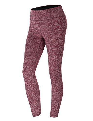 yogareflex supporto medio Pannello Laterale Tasca Posteriore High Rise Yoga Pantaloni CWBLP019_Red_HIGH RISE Small