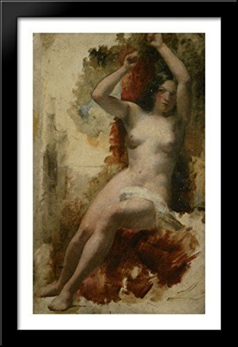 Study of a Seated Nude 26x40 Large Black Wood Framed Print Art by William Etty