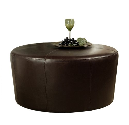 Abbyson Living Bliss Brown Bicast Leather Round Ottoman