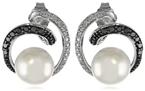 10k White Gold, Freshwater Cultured Pearl, and Black and White Diamond Earrings (1/4 cttw, G-H Color, I2-I3 Clarity)