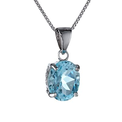 "Sterling Silver Blue Topaz Pendant, 18"": Jewelry"