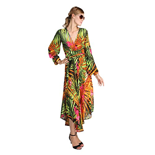 Sexy Summer Boho Tropical Flower Print V-Neck Long Sleeve Chiffon Beach Dress