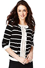 Round Neck Striped Cardigan