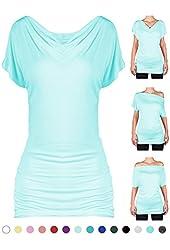 SEJORA Boatneck Convertible Short Sleeve Dolman Tunic Top - Many Colors & Prints