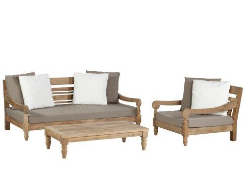 KAWAN Lounge Gartenmöbel Gartenset 3-teilig Teak Recycled günstig online kaufen