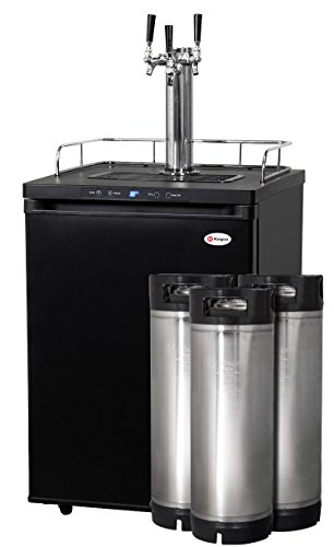 Best Price Kegco Full-Size Digital Homebrew Kegerator Three Faucet Black with Ball Lock Keg