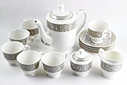Swagger Microwave safe Bone China Tea Set / Black & white classy tea set / Floral tea set/ Cups & Saucer