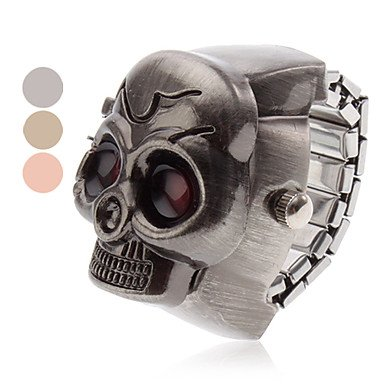 Unisex Red Eyes Skull lega di stile analogico al quarzo Anello Watch (colori assortiti) ( Colore : Marrone )