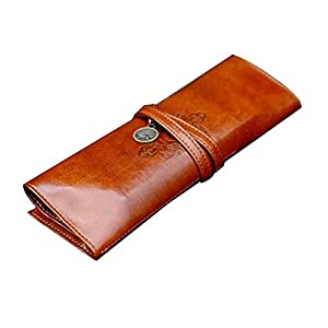 niceEshop(TM) New Fashion Twilight Retro Style Bandage Leather Pen Bag Pencil Case Makeup Cosmetic Pouch-Dark Brown