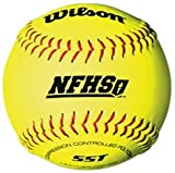 Wilson A9011BSST 12 Inch NFHS Optic Yellow Leather Super Seam Softball (Sold in Dozens)
