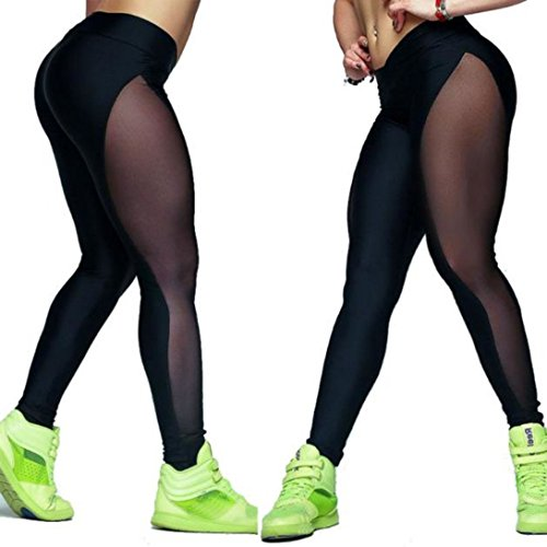 Wensltd Women Mesh Yoga Pants Outdoor Gym Fitness Elastic Joggers Legging (L, Black)