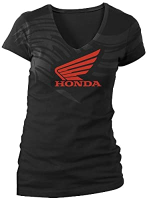 Honda Collection Ladies Abstract Wings Short Sleeve Tee , Distinct Name: Black, Size: Md, Gender: Womens, Primary Color: Black 54-7267