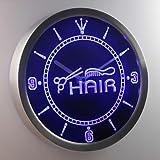 nc0320 ciseaux de coupe de cheveux signe boutique de peigne au néon conduit horloge murale , Blue...