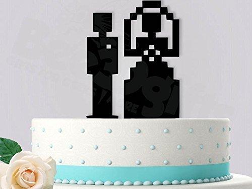 8-Bit Bride and Groom Wedding Cake Topper