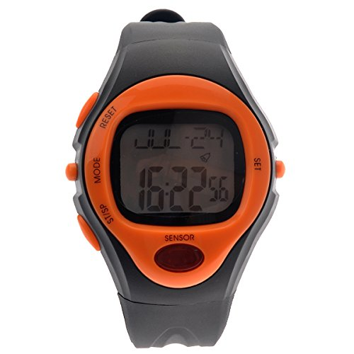 Tinksky® 06221 Waterproof Unisex Pulse Heart Rate Monitor Calorie Counter Sports Digital Watch with Date Alarm Stopwatch (Orange)